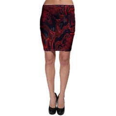 Fractal Red Black Glossy Pattern Decorative Bodycon Skirt