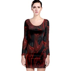 Fractal Red Black Glossy Pattern Decorative Long Sleeve Bodycon Dress