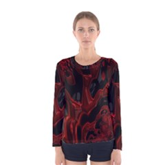 Fractal Red Black Glossy Pattern Decorative Women s Long Sleeve Tee