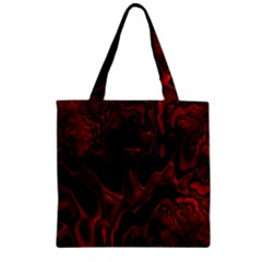 Fractal Red Black Glossy Pattern Decorative Zipper Grocery Tote Bag