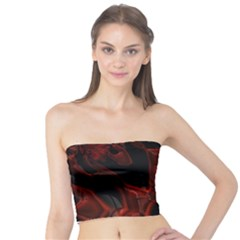 Fractal Red Black Glossy Pattern Decorative Tube Top