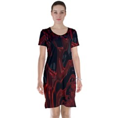 Fractal Red Black Glossy Pattern Decorative Short Sleeve Nightdress