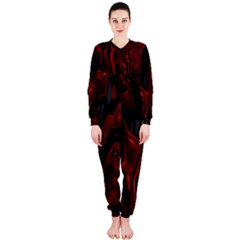 Fractal Red Black Glossy Pattern Decorative Onepiece Jumpsuit (ladies)