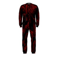 Fractal Red Black Glossy Pattern Decorative Onepiece Jumpsuit (kids)