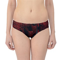 Fractal Red Black Glossy Pattern Decorative Hipster Bikini Bottoms