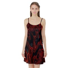 Fractal Red Black Glossy Pattern Decorative Satin Night Slip