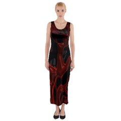 Fractal Red Black Glossy Pattern Decorative Fitted Maxi Dress