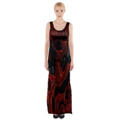 Fractal Red Black Glossy Pattern Decorative Maxi Thigh Split Dress