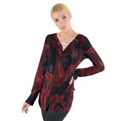 Fractal Red Black Glossy Pattern Decorative Women s Tie Up Tee