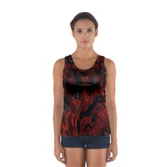 Fractal Red Black Glossy Pattern Decorative Women s Sport Tank Top