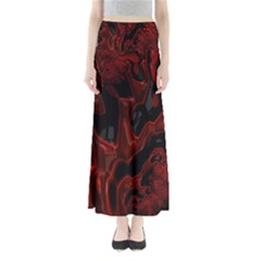 Fractal Red Black Glossy Pattern Decorative Maxi Skirts