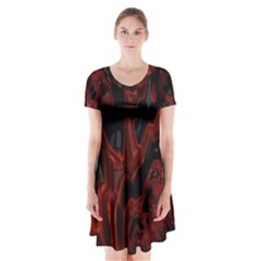 Fractal Red Black Glossy Pattern Decorative Short Sleeve V Neck Flare Dress