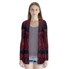 Fractal Red Black Glossy Pattern Decorative Cardigans