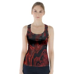 Fractal Red Black Glossy Pattern Decorative Racer Back Sports Top