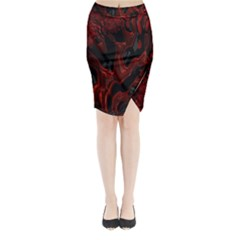 Fractal Red Black Glossy Pattern Decorative Midi Wrap Pencil Skirt