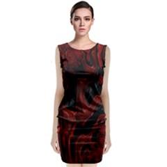 Fractal Red Black Glossy Pattern Decorative Sleeveless Velvet Midi Dress