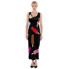 Decorative ice cream pattern Fitted Maxi Dress