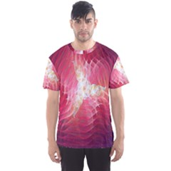 Fractal Red Sample Abstract Pattern Background Men s Sport Mesh Tee