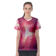 Fractal Red Sample Abstract Pattern Background Women s Sport Mesh Tee