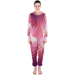 Fractal Red Sample Abstract Pattern Background Hooded Jumpsuit (ladies)