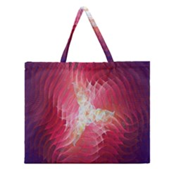 Fractal Red Sample Abstract Pattern Background Zipper Large Tote Bag