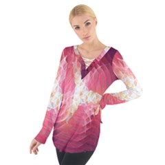 Fractal Red Sample Abstract Pattern Background Women s Tie Up Tee