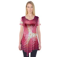 Fractal Red Sample Abstract Pattern Background Short Sleeve Tunic