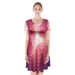 Fractal Red Sample Abstract Pattern Background Short Sleeve V Neck Flare Dress
