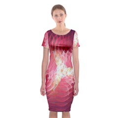 Fractal Red Sample Abstract Pattern Background Classic Short Sleeve Midi Dress