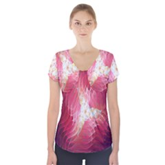 Fractal Red Sample Abstract Pattern Background Short Sleeve Front Detail Top