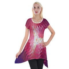 Fractal Red Sample Abstract Pattern Background Short Sleeve Side Drop Tunic