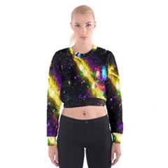 Galaxy Deep Space Space Universe Stars Nebula Women s Cropped Sweatshirt