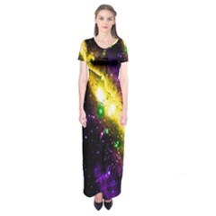 Galaxy Deep Space Space Universe Stars Nebula Short Sleeve Maxi Dress