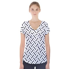 Geometric Pattern Short Sleeve Front Detail Top