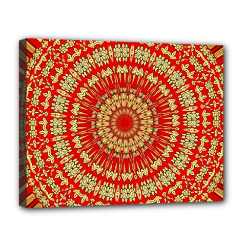 Gold And Red Mandala Canvas 14  X 11