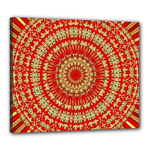 Gold And Red Mandala Canvas 24  X 20