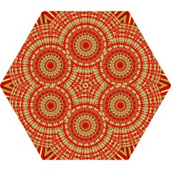 Gold And Red Mandala Mini Folding Umbrellas