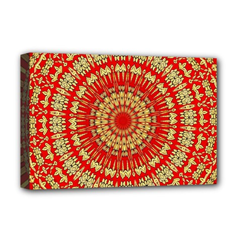 Gold And Red Mandala Deluxe Canvas 18  X 12