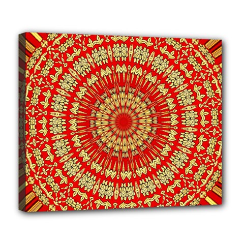 Gold And Red Mandala Deluxe Canvas 24  X 20