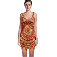 Gold And Red Mandala Sleeveless Bodycon Dress