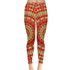 Gold And Red Mandala Leggings