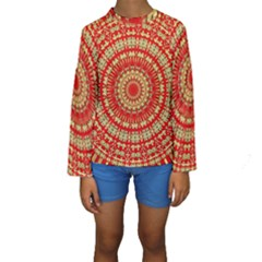 Gold And Red Mandala Kids  Long Sleeve Swimwear