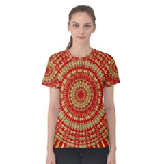 Gold And Red Mandala Women s Cotton Tee