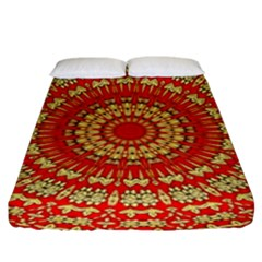 Gold And Red Mandala Fitted Sheet (king Size)