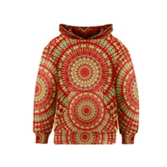 Gold And Red Mandala Kids  Pullover Hoodie