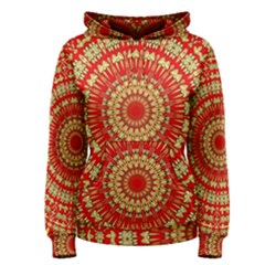 Gold And Red Mandala Women s Pullover Hoodie