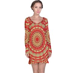 Gold And Red Mandala Long Sleeve Nightdress