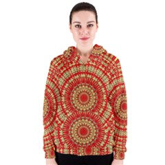 Gold And Red Mandala Women s Zipper Hoodie