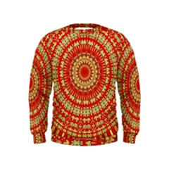 Gold And Red Mandala Kids  Sweatshirt