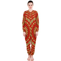 Gold And Red Mandala Onepiece Jumpsuit (ladies)